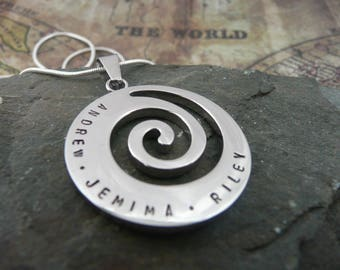 Silver stainless steel spiral personalised necklace