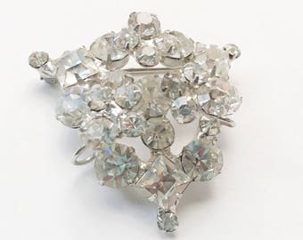 Elegant Vintage Rhinestone Brooch, Juliana Jewelry Layered Construction, Bridal Jewelry