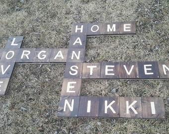 scrabble tile,scrabble,wall decor, family name,scrabble name,scrabble art,tiles,wooden tile,wood tile,wooden home decor,wooden name,family