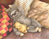 Sleeping Sloth, Art Print, Nursery Decor, Kid's Bedroom Art, Cute Nursery Art