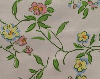 floral cotton fabric 1960s decorator fabric greeff fabric vintage floral decorator fabric vintage floral fabric - Decorator Fabric