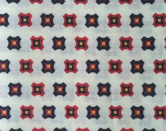 Cotton Fabric / Vintage Fabric / Red Cotton Fabric / Geometric Fabric / Quilting Fabric / Vintage Quilting Fabric
