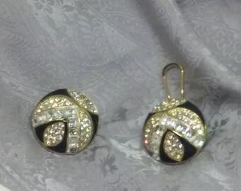 Black Enamel Rhinestone Gold French Clip Earrings