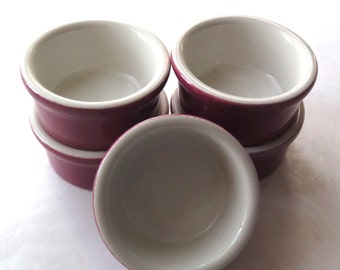 Coors Pottery Custard Cups Ramekins Set of Five Burgundy Rose HF Coors California Pottery Chefsware 152 Souffle Mousse Vintage Kitchenware