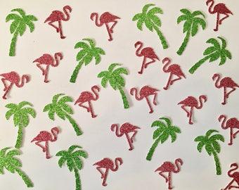Flamingo & Palm Tree Confetti -- Spring Break / Flamingle / Birthday Party / Shower