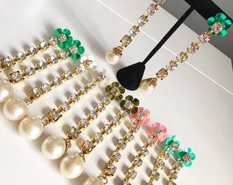 Disco Drop Rhinestone Earrings, Long Earrings,, Crystal Long earrings, Crystal Drop Earrings, Crystal Jewelry, Crystal  Jewellery