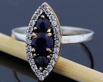 Handmade Blue Sapphire Topaz Ring // 925 Sterling Silver Ring Size 8.5 Jewelry - R95