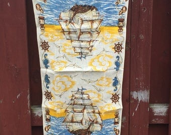 Vintage Linen Tea Towel / Tall Ships Nautical Kitchen Towel / Unused Towel by Parisian Prints