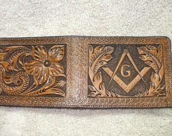 black freemason wallet / billfold, masonic wallet, mason billfold. (77)  ( I ship the same day as you order )