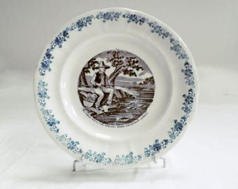 French Antique Longwy Black Transferware Plate fishes and Fishermen 2 c1880 (v839)