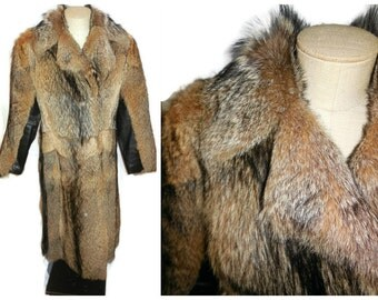 Vintage Fur Coat 70s Coyote Fur Long Coat Boho Fur Coat Real Fur Gorgeous Must See! 36 in chest S
