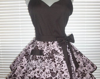 PLUS SIZE Sweetheart Retro Apron Pink and Chocolate Brown Print Circular Flirty Skirt