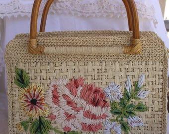 Fossil Vintage Woven Straw Handbag Purse Floral Design Vintage Purse Summer Purse