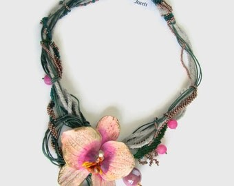 Orchid Statement Necklace, Crystal Necklace, Gift for  Women, Polymer Clay Orchid, OOAK necklace