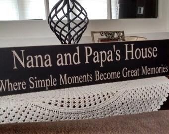 nana and papa's house custom primitive signs, pregnancy reveal to grandparents, gifts for grandma, grandpa gift, nana sign, grammy grampy