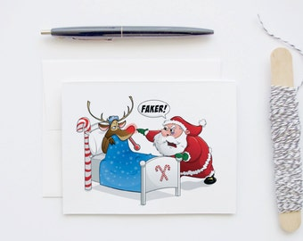 Rudolph Faking Sick - Funny illustrated Cartoon Blank Christmas Greeting Card