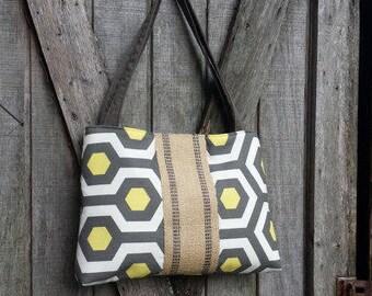 Gray and Yellow Hexagon Handbag Purse Tote Bag Shoulder Bag with Jute Webbing