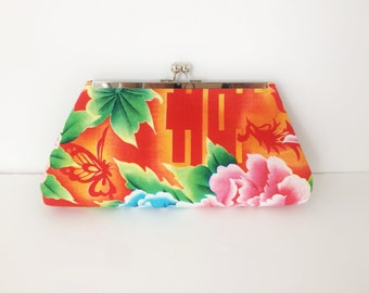 Vibrant Asian Inspired Floral Print Framed Clutch, Vintage Remnant, Recycled, Reclaimed fabric, Silver finish frame, Kisslock Frame
