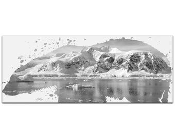 Animal Silhouette 'Polar Bear Arctic Gray' by Adam Schwoeppe - Landscape Photography Glacial Cliffs Art on White Metal