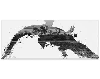 Animal Silhouette 'Alligator Swamp Gray' by Adam Schwoeppe - Landscape Photography Coastal Nature Art on White Metal