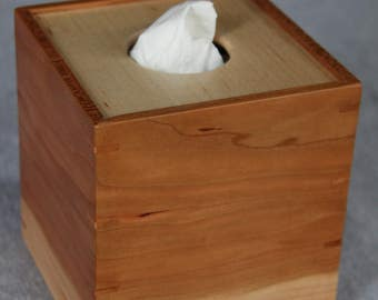 Boutique Tissue Box Cover Handmade out of Cherry and Maple- FREE Shipping To USA