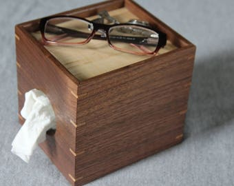 Tissue Box Cover for Nightstand Made out of Walnut and Curly Maple - Free Shipping to USA