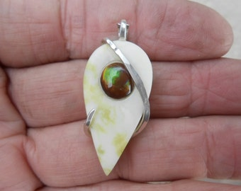 Cabochon-Mexican Fire Opal Inlay Silver Wrapped Pendant