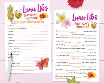 Hawaiian Luau Birthday Party Madlib Game - Personalized - Printable OR Printed [#101A]
