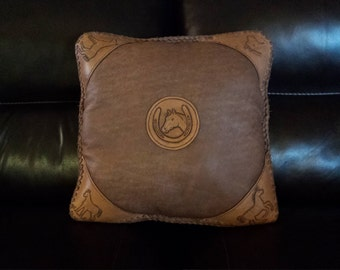 Leather and Hair on Cowhide Horse Pillow  18X18