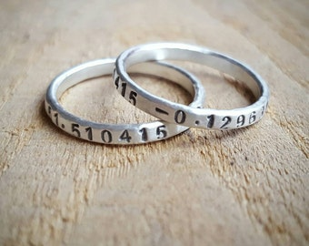 Skinny Hammered Latitude Longitude Ring in Sterling Silver or 14K gold, Rustic  Location Ring, Gold Ring with Coordinates, coordinate ring
