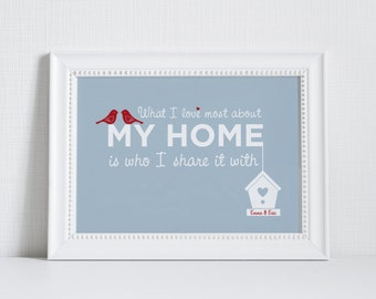 Home Love Print 'What I love most about my home is who I share it with' - blue personalised print - housewarming gift - home decor - home