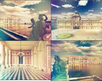 Digital file collection, Paris printable decor, travel printable wall art, vintage style Versailles, Louvre, cottage decor, digital photos