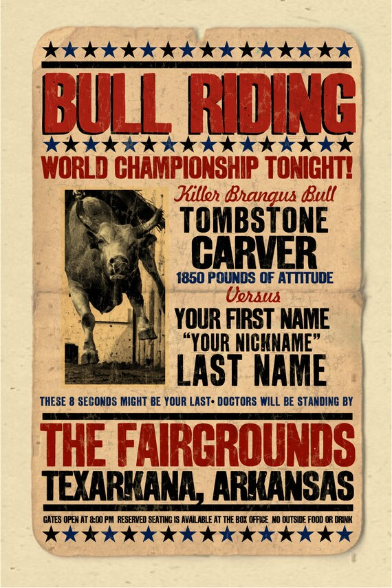 Your Name On A Rodeo Bull Riding Poster Personalized Great