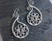 Argentium silver filigree paisley wire wrapped earrings, silver wire earrings, elegant silver dangle earrings, flower silver earrings