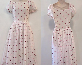 1940's Red and White Polka Dot Cotton Dress