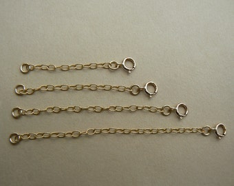 "14ct gold filled extender chain with clasp for necklace or pendant  1"", 1.5"", 2"", 2.5"" long"