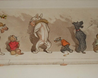 vintage comical dog  colored French etching seven dogs signed titled