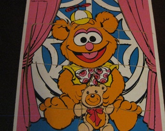 Vintage Playskool The Muppets Baby Fozzie Board Puzzle, 1985, Learning Toys, Preschool, Henson Associates
