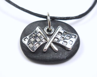 Race Flag Necklace, Nascar Jewelry, Checkered Flag Pendant, Polymer Clay Racing Gift