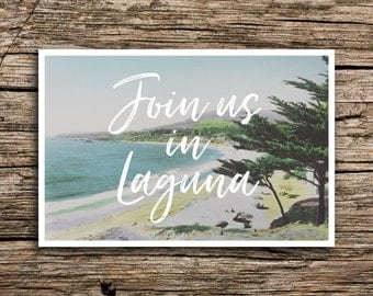 Laguna Beach Save the Date Postcard // Laguna The OC Save the Date Beach Wedding Save the Date California Postcard Wedding Minimalist