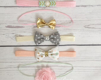 Five Baby Girl Headband Set-Girls Headbands-Rosette Headband-baby bow Headband-Photo Prop-Baby Shower Gift-newborn headband set-newborn bow
