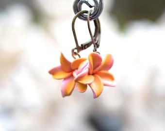 Plumeria/Frangipani/Hawaian Flower/tropical Flower Simple Drop Earrings in pink and Yellow.