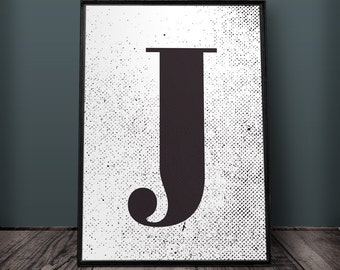 Letter J Print, Letter Wall Art, Letter Wall Decor, Printable Letters, Large Letter Print, Typography Print