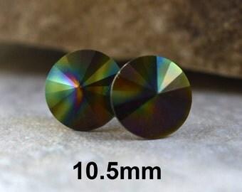 Dark Rainbow Studs, Swarovski, Rivoli Earrings, Crystal Studs,  Rhinestone Earrings, Dark Rainbow  Earrings, stud earrngs, 10.5mm