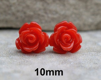 Red Rose Studs, Red Earrings, Acrylic Rose Studs, Resin Rose Earring, Red Rose Earrings, Handmade Earrings, Rostone, 10mm Studs