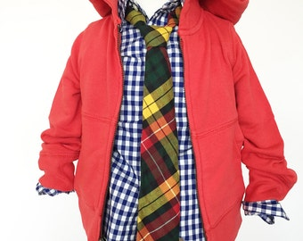 Fall Plaid Necktie in Green, Gold and Burgundy