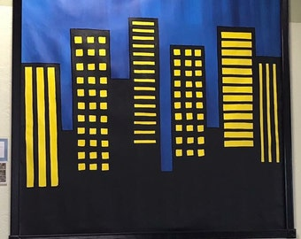 Superhero Mural, Canvas Mural, Cityscape Painting, Superhero Party Decor, Superhero Room Decor, Boys Room Decor, Cityscape Mural
