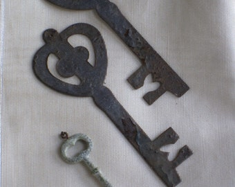 Trio of Stamped Flat Metal and Composition Keys, Decorations - Large Size - Shabby Vintage Findings  - Art, Crafting, Jewelry, Gift Supplies
