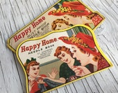Happy Home needle books. Two packs of vintage needles. Collectable vintage packaging. Vintage sewing supply.