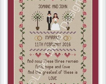 Faith Hope and Love Wedding Cross Stitch Sampler FULL KIT
